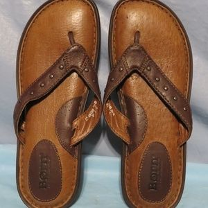BORN LEATHER FLIP FLOPS THONG SANDALS WOMENS 7/38